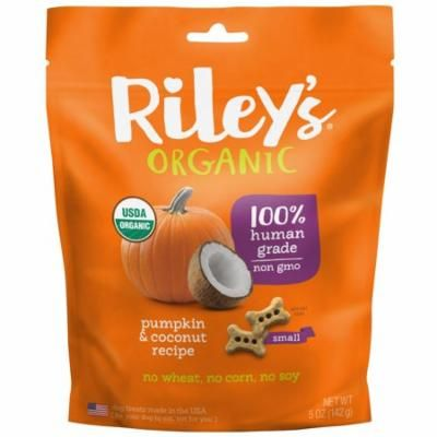 Riley's Organics, Dog Treats, Small Bone, Pumpkin & Coconut Recipe, 5 oz (pack of 4)