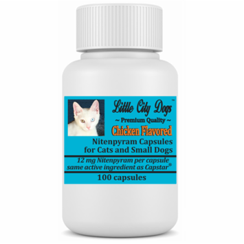 Little City Dogs Bulk Nitenpyram Flea Capsules, 100 small capsules for cats & small dogs