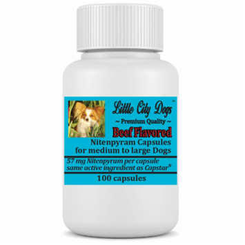 Little City Dogs BULK Nitenpyram Flea Capsules, 100 medium capsules for dogs & cats 25-125 lbs