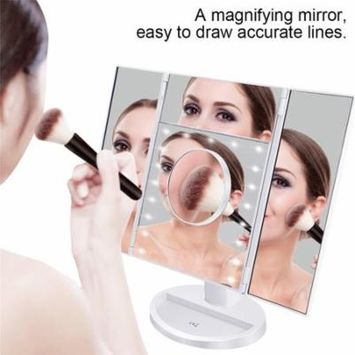 LED Touch Panel Makeup Mirror, Trifold Cosmetic Lamp Mirror Touch Screen,White
