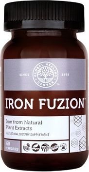 Global Healing Center Iron Fuzion All Natural Vegan Plant Based Iron Supplement 18 mg + Organic Thyme, Echinacea & Fulvic Acid