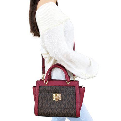 NWT Michael Kors Tina Small Top Zip Satchel Handbag Crossbody Brown MK Cherry