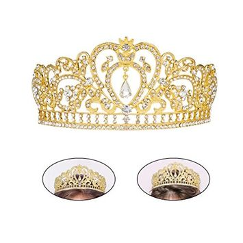 Exacoo Girls Crowns Heart Rhinestone Crystal Bridal Crowns Tiaras Prom Queen Crown Pageant Crowns Princess Crown for Women Girls (G
