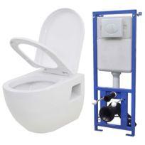 Toilette murale avec réservoir de chasse caché Céramique Blanc