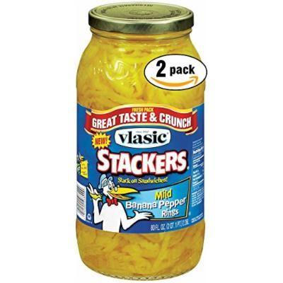 Vlasic Banana Pepper Mild Rings Stackers, 80 OZ Jar (Pack of 2, Total of 160 Oz)