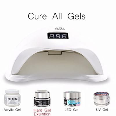 SUN 5 48W nail dryer polish curing UV lamp with 4 timer setting big size and screen display,manicure, pedicure (White)