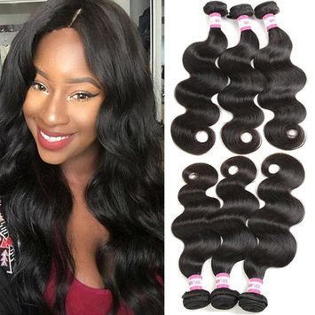 B&P Brazilian Hair 3 Bundles Body Wave Human Hair Weave Unprocessed 7a Virgin Brazilian Hair Extensions Natural Black Color 16 18 20inches