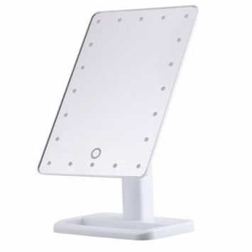 HURRISE 20 LED Makeup Mirror,Desktop Makeup Stand Mirror with Touch Screen,White