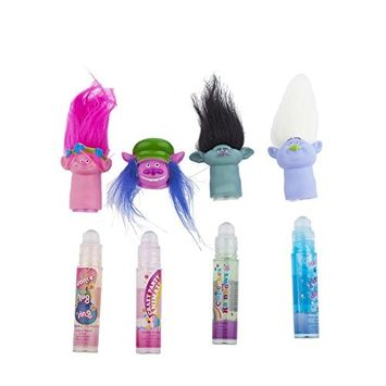 Townley Girl Dreamworks Trolls Sparkly Lipgloss For Girls, 4 pack with Finger Puppets