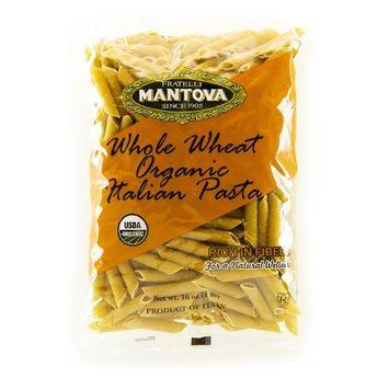 Mantova Whole Wheat Organic Italian Pasta Penne Rigate, 1 Pound (Pack of 12)
