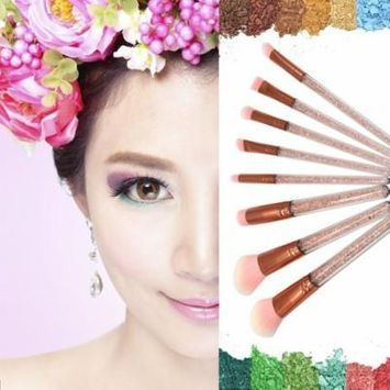 8PCS Makeup Brushes Set Crystal Diamond Handle Foundation Eyeshadow Brush