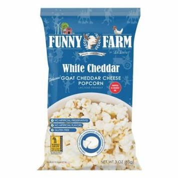 Funny Farm Popcorn - White Goat Cheddar Cheese - Case Of 12 - 3 Oz