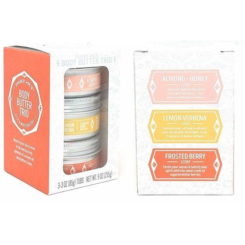 Trader Joe's - Body Butter Trio: Almond + Honey, Lemon Verbena, Frosted Berry NET WT. 9 OZ(3-3OZ Tubs)