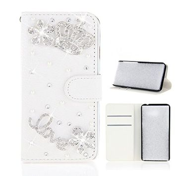Samsung Galaxy A6 Plus 2018 Case, Scheam Leather Case 3D Diamond Bling Shining Case Wallet Case Credit Card Slot Kicktand Flip Cover Shockproof Protective Case for Galaxy A6 Plus 2018 (White Crown)