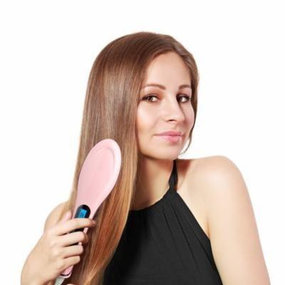 Instant Hair Straightner - LED Detangling Hair Brush - Fast Natural Straight Hair Styling (Pink)