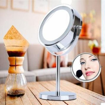 Double-Sided LED Light Cosmetic Makeup Mirror with Adjustable Swivel Stand, 5 X Magnifying