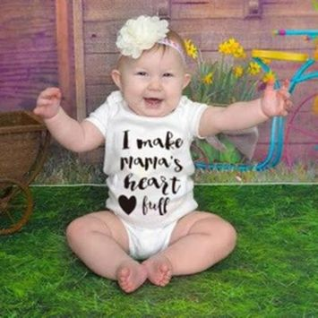 Summer Baby Unisex Short Sleeves Heart Letters Printing Triangle Romper