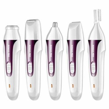 Electric Hair Removal for women 5 in 1 Facial Hair Remover, Muti Use Electric Shaver Painless Waterproof Design (Purple)