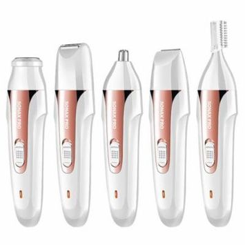 Electric Hair Removal for women 5 in 1 Facial Hair Remover, Muti Use Electric Shaver Painless Waterproof Design (Golden)