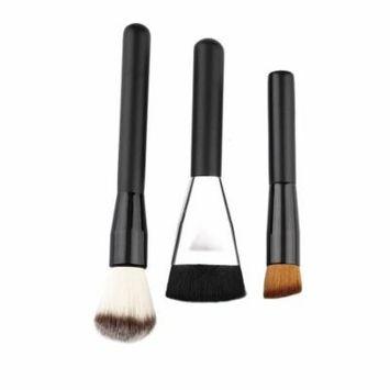 3pcs Wood Handle Makeup Brush Set Powder Foundation Cosmetic Brushes