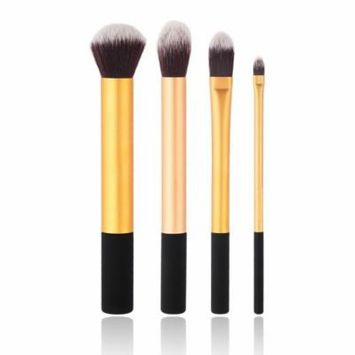 Gold New 4pcs powder kabuki blending makeup Soft Synthetic Hair brushes with Long Handle Professional Cosmetic blush Set Hot Selling