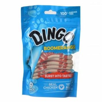 Dingo Boomerangs Rawhide Free Dog Treats with Real Chicken 9 Pack - Pack of 10