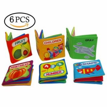 6Pcs Baby's First Cloth Books Little Kids Books Set Washable Educational