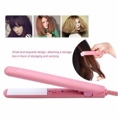 Yosoo Mini Pink Ceramic Tourmaline Hair Straightener Iron Curler Hair Styling Tools for Travel , Hair Styling Tools,Hair Straightener