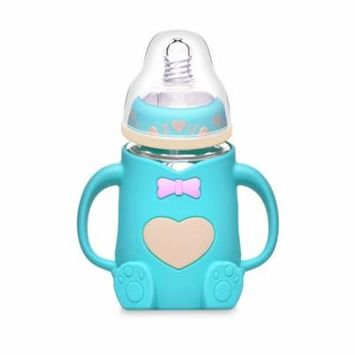 Baby Feeding Bottle Glass Milk Bottle Width Mouth Feeder 240ML Silicone Shockproof Nursing Bottle for 24 Months (Blue)