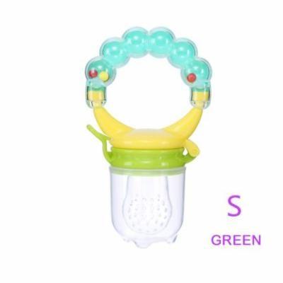 1Pcs Baby Pacifiers Feeder Kids Fruit Feeder Nipples Feeding Safe Baby Supplies Nipple Teat Pacifier Bottles ( Green S)