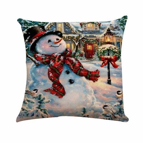 Christmas Pillow Covers Snowman Theme Square Pillowcases 18x18 Inch Cotton Linen Throw Cushion Case Winter Holiday Sofa Bedroom Car Decor
