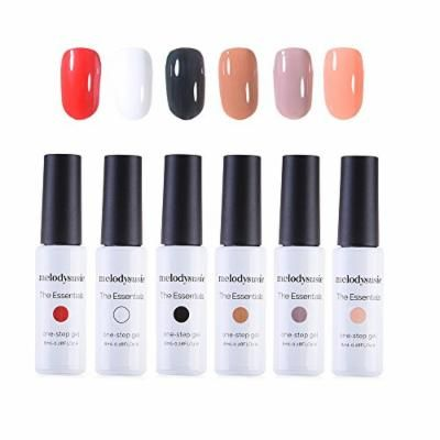 """""""MelodySusie Gel Nail Polish Set, the Essentials 1 Step Durable Nail Gel Kit, Quick Curing by LED UV Nail Lamp, Easy Soak Off, 6 Colors"""""""