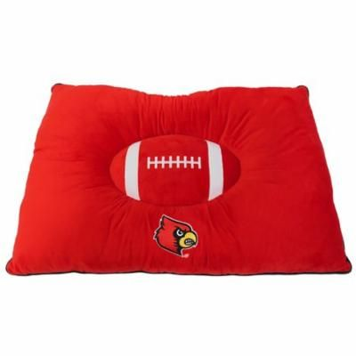 NCAA PET BED - Louisville Cardinals 'Soft & Cozy' Plush Pillow Bed. - FOOTBALL DOG BED. Cuddle, Warm Collegiate Mattress BED for CATS & DOGS