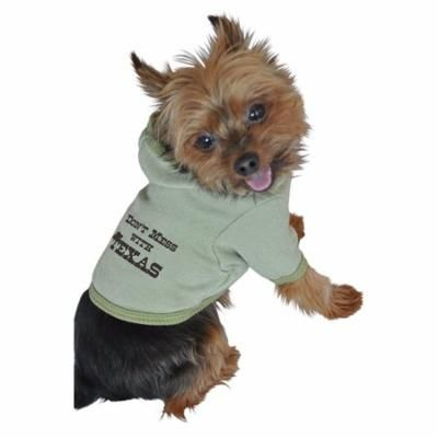 Ruff Ruff and Meow Dog Hoodie, Dont Mess With Texas, Green, Medium