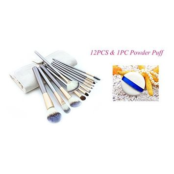 12 PCS Foundation Blending Brush Set, Eyeshadow Eyelash Eyebrow Brushes Set, Face Powder Blush Kabuki Makeup Brushes Kit with Facial Powder Puff and Cosmetic Brush Bag