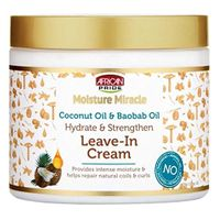 African Pride Moisture Miracle Coconut Oil & Baobab Oil Leave-In Cream - Provides Intense Moisture & Helps Repair Natural Coils & Curls, Hydrates & Strengthens, 15 oz