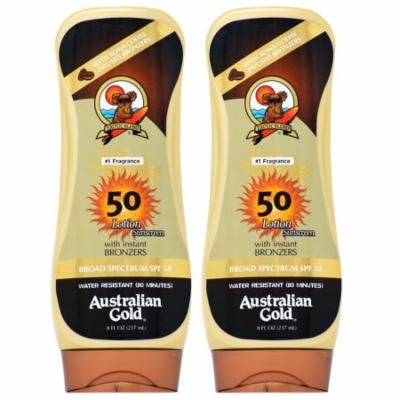 Australian Gold SPF 50 Lotion Sunscreen w/ Bronzers 8oz (Pack of 2)