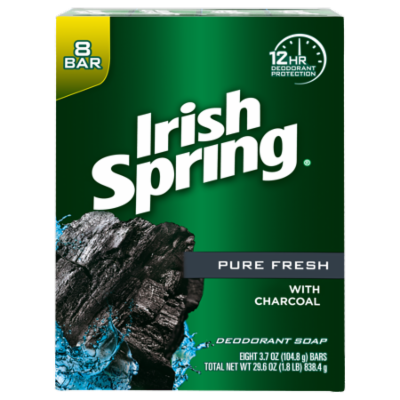 Irish Spring Pure Fresh Charcoal Bar Soap, 3.7 Ounce, 8 Bar Pack