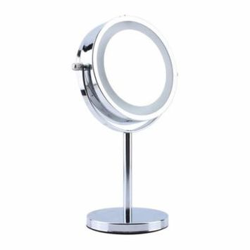 Double-Sided LED Light Cosmetic Makeup Mirror with Stand