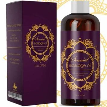 Sensual Massage Oil with Pure Almond Oil and Relaxing Lavender Oil Jojoba Oil Nourishing Dry Skin Formula for Women and Men 100% Natural Hypoallergenic Skin Therapy Large 16 oz Bottle. - USA Made