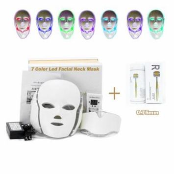 MISSAMMY 7 Colors LED Light Skin Therapy Mask Face Skin Rejuvenation Facial Anti-aging Neck Mask + ZGTS 192 Micro Needle Derma Roller ?0.75mm?