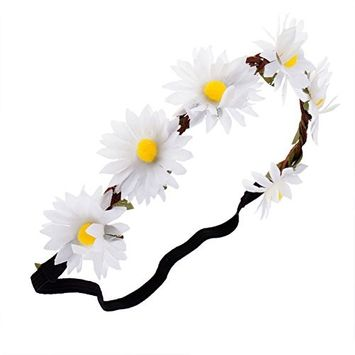 Stylish Hairband / Headband / Hair Decoration / Wreath With Black Elastic Band And 6 White Daisies Flowers And Green Leaves By VAGA