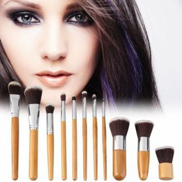 11 Pcs Makeup Brush Set with A Cloth Bag Comestic Eyeshadow Foundation Brushes Wooden Handle Bamboo with Bag Beauty Accessories