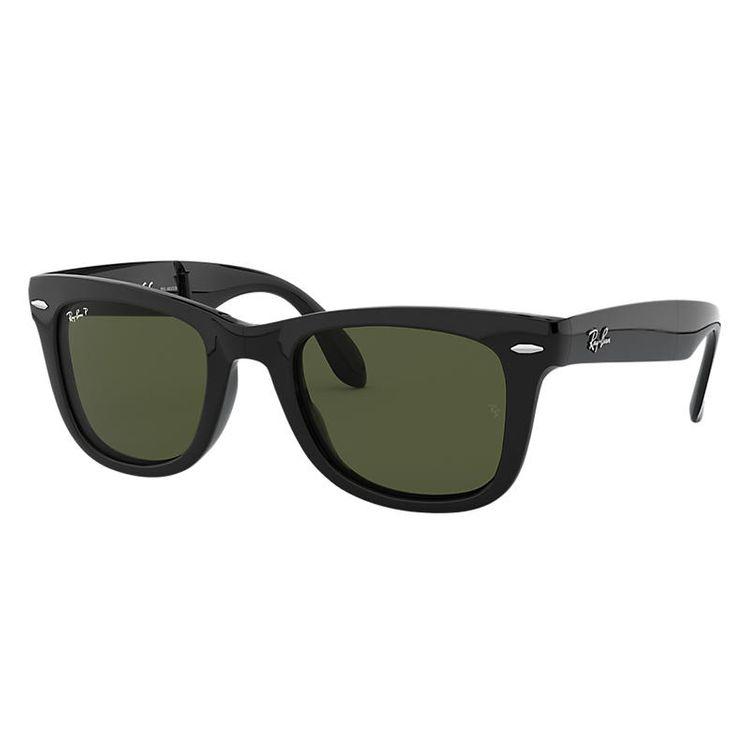 Ray-Ban Wayfarer Folding Classic Black, Polarized Green Lenses - RB4105