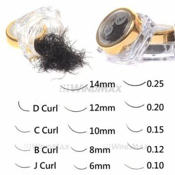 (R) Deluxe 1 Pot Black C Curl 0.15 Thickness 14mm False Eyelash Fake Eyelashes Extension Individual Loose Eye Lashes Box Case, Total 1 pot of C.., By WindMax