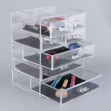 7 Grid Acrylic Makeup Organizer Drawer Simple Stylish Cosmetic Storage Box Display Cabinet Large Make Up Case