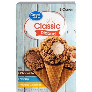 Great Value Classic Dipped Ice Cream Cones, 8 Count, 36 oz