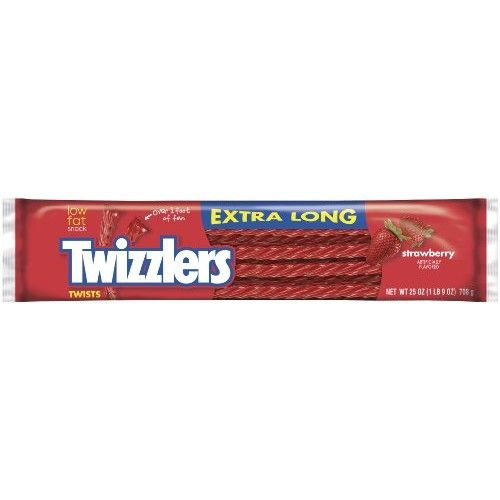 TWIZZLERS Extra Long Twists, Strawberry Flavored Licorice Candy, 25-Ounce Package (Pack of 3)