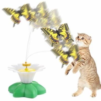 Lemonbest Cat Toys Electric Rotating Colorful Butterfly Funny Pet Seat Scratch Toy For Cats Kitten Dropshipping