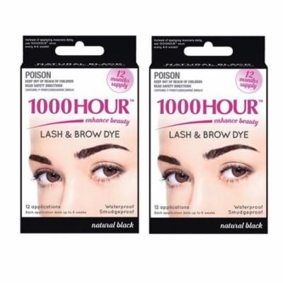 1000 Hour Eyelash & Brow Dye / Tint Kit Permanent Mascara (Black) (2 Pack)